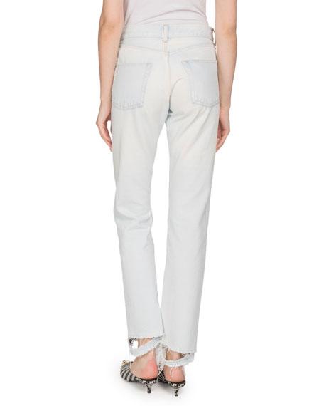 Light-Indigo Straight-Leg Jeans with Frayed Hem