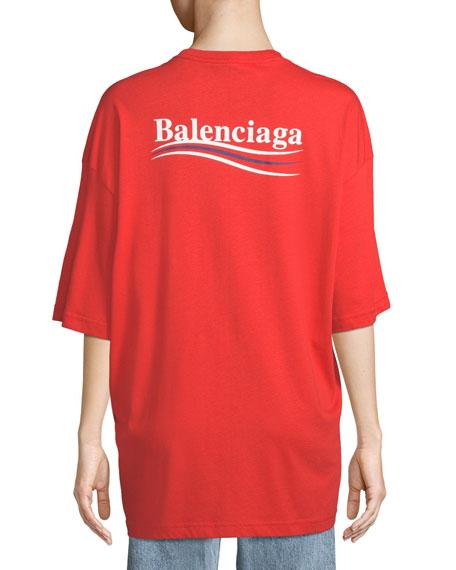 ee9cf3538149 Balenciaga Crewneck Short-Sleeve Oversize Campaign-Logo Cotton T-Shirt