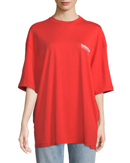 Balenciaga Crewneck Short-Sleeve Oversize Campaign-Logo Cotton