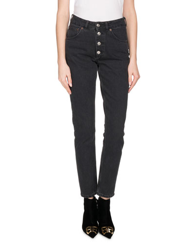 High-Waist Button-Fly Skinny Jeans