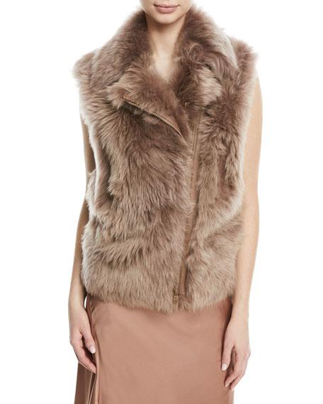 Zip-Front Shearling Fur Moto Vest, Pink
