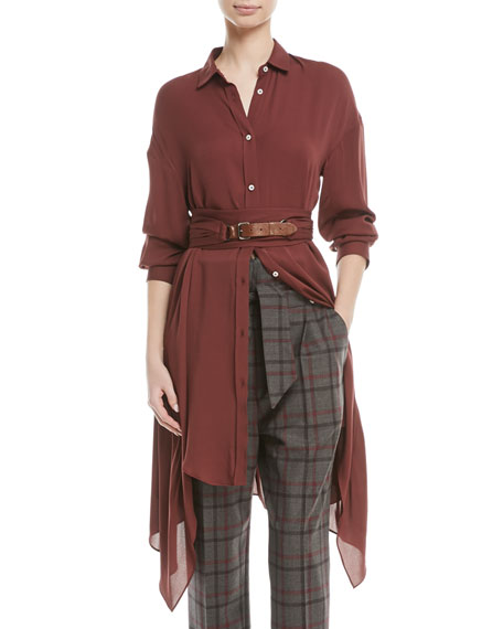 Long-Sleeve Button-Down Silk Tunic w/ Wrap Belt & Leather Closure