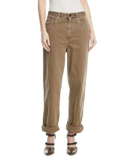 Brunello Cucinelli Garment-Dye Denim Pants with Monili 4-Track