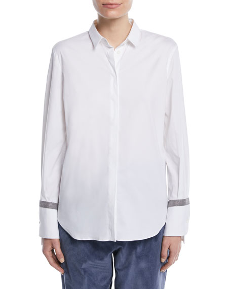 Brunello Cucinelli Button-Down Long-Sleeve Cotton Shirt w/ Monili