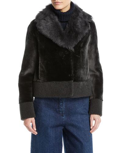 Short Shearling Coat w/ Curly Cuff & Hem