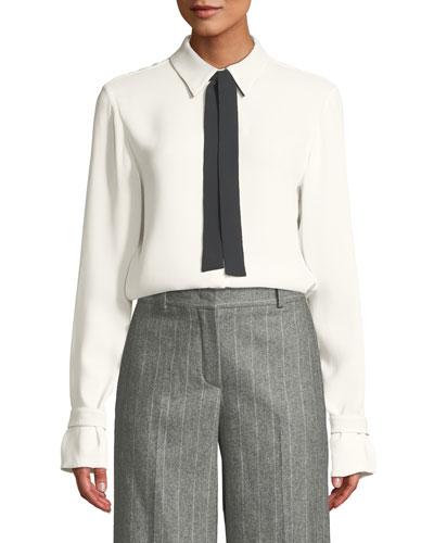 Long-Sleeve Silk Blouse w/ Contrast Necktie