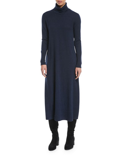 Turtleneck Long-Sleeve Midi Cashmere Sweaterdress