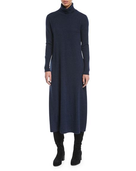 Turtleneck Long-Sleeve Midi Cashmere Sweaterdress