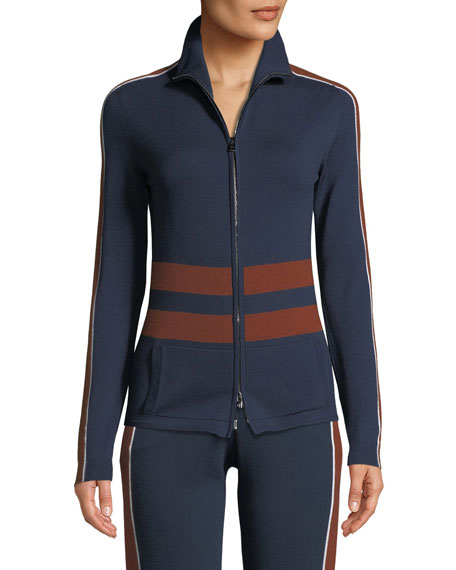 High-Neck Striped Ribbed Athletic Jacket