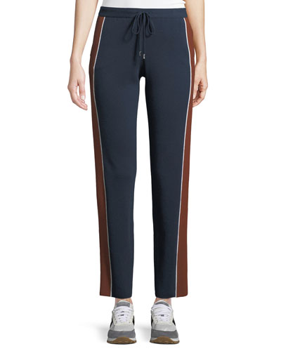 Drawstring High-Rise Tapered-Leg Athletic Pants