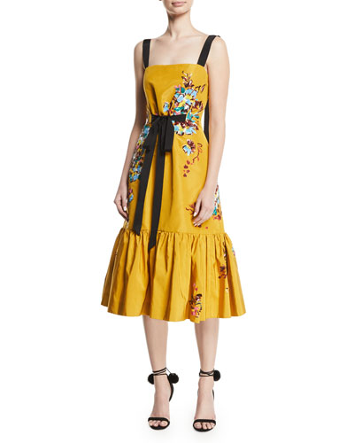Square-Neck Sleeveless Floral-Embroidered Midi Dress w/ Flounce Hem