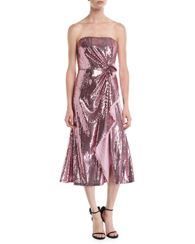 Strapless Ruched-Side Sequin Midi Cocktail Dress