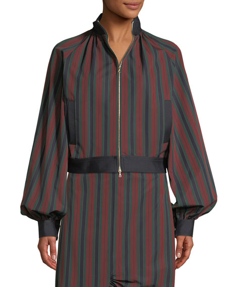 Barcode Stripe Cotton Balloon Jacket