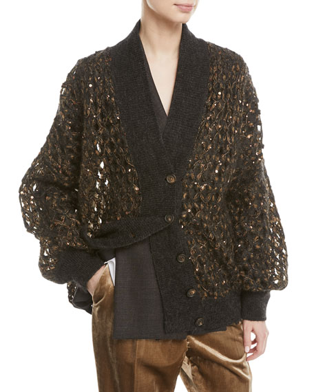 Brunello Cucinelli V-Neck Button-Front Mohair and Sequin Net