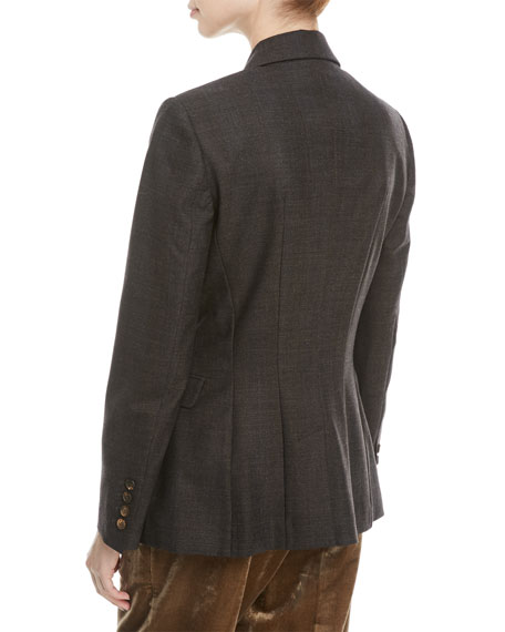 Double-Breasted Subtle-Plaid Wool Blazer with Monili Pocket