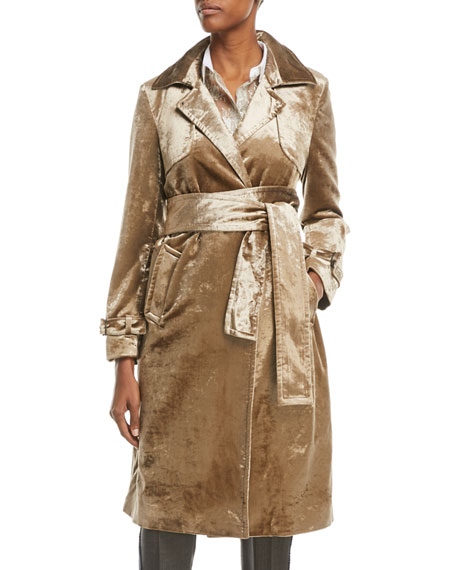 Notched-Collar Belted Velvet Trench Coat in Bronze