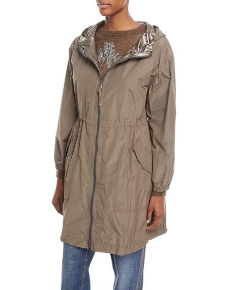 Zip-Front Hooded Mid-Length Taffeta Coat with Metallic Trim