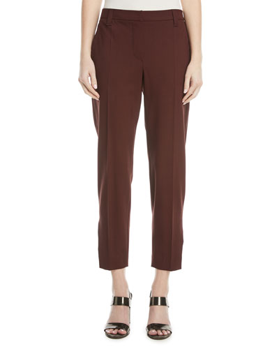Straight-Leg Lightweight Wool Cropped Pants w/ Split Hem