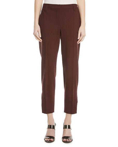 Brunello Cucinelli Straight-Leg Lightweight Wool Cropped Pants w/