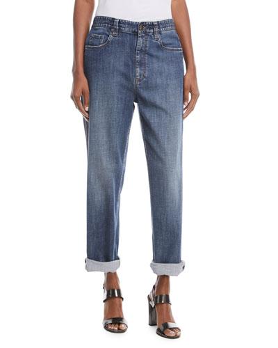 Mid-Rise Wide-Leg Jeans w/ Side Monili Trim