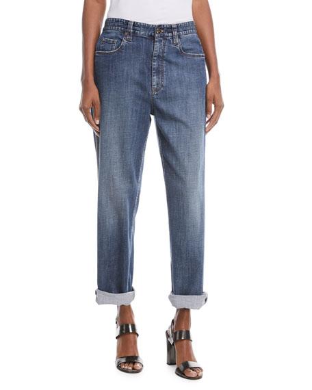 e29824ce14e Brunello Cucinelli Mid-Rise Wide-Leg Jeans w  Side Monili Trim