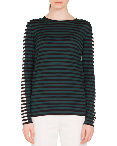Round-Neck Long-Sleeve Striped Knit Wool Pullover Sweater