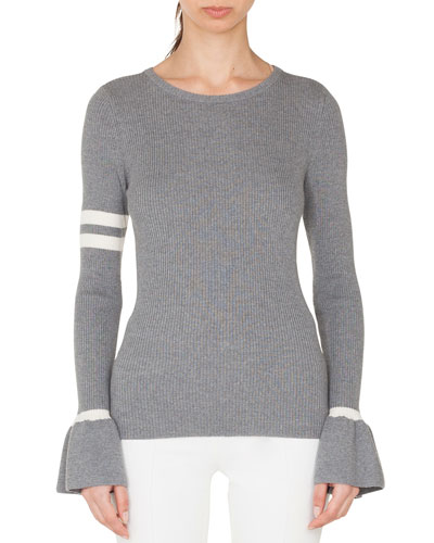 Crewneck Striped Long-Sleeve Wool Knit Pullover Sweater