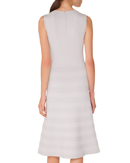 Sleeveless Round-Neck Tonal-Pintucking Knit Midi Dress