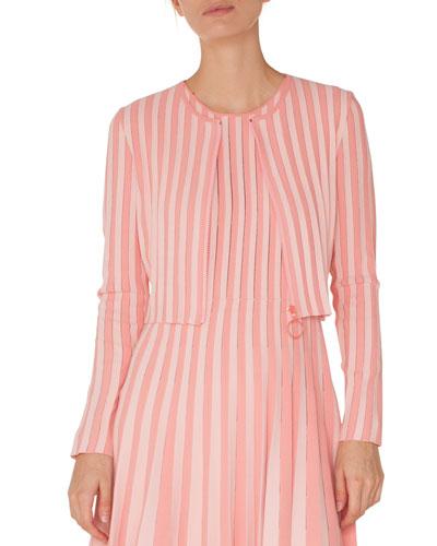 Zip-Front Long-Sleeve Striped Knit Cropped Bolero