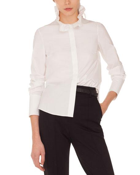 Akris punto Ruffle-Collar Button-Front Long-Sleeve Cotton Shirt