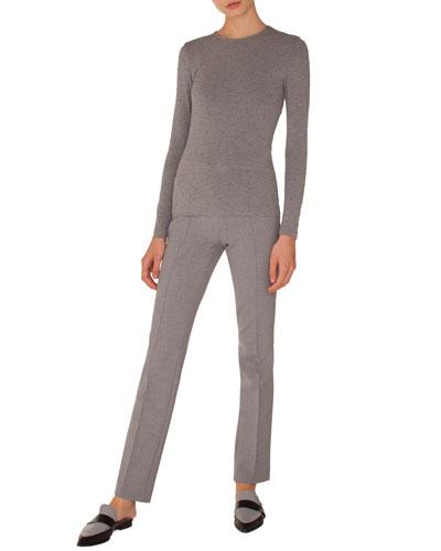 Francoise Straight-Leg Side-Zip Pants