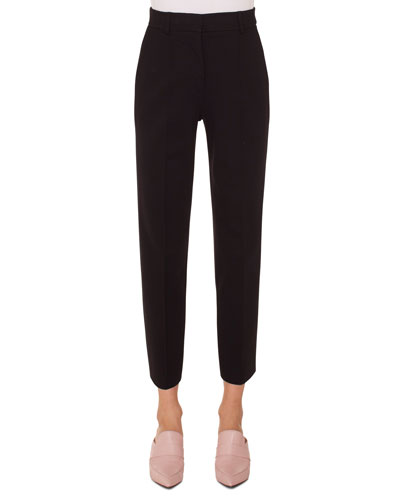 Ferry High-Waist Straight-Leg Cropped Jersey Pants