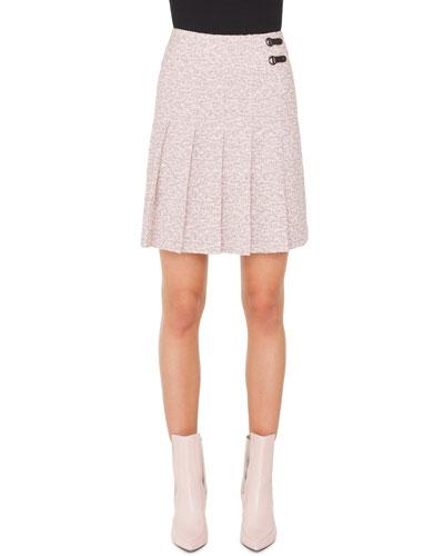 A-Line Pleated Tweed Mini Skirt