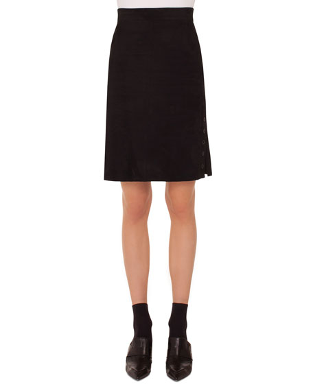 Akris punto A-Line Suede Leather Knee-Length Skirt w/
