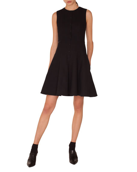 SLEEVELESS PRESS-BUTTON FIT-AND-FLARE PIQUE JERSEY DRESS