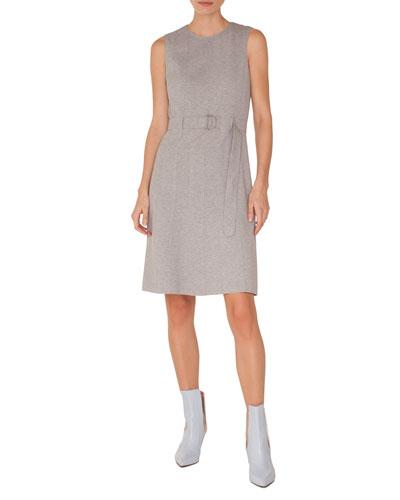 Sleeveless Belted Mélange Jersey A-Line Dress