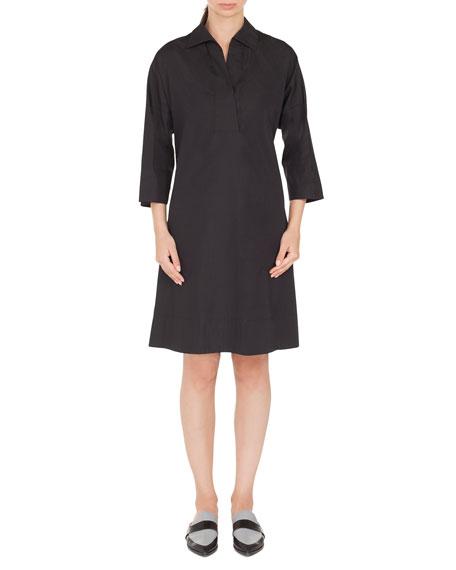 Akris punto V-Neck Bracelet-Length Cotton Knee-Length Dress