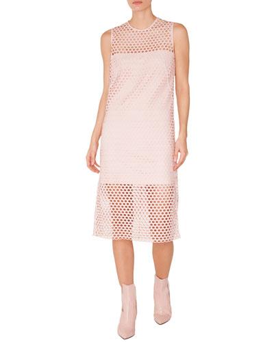 Sleeveless Round-Neck A-Line Lace Midi Dress