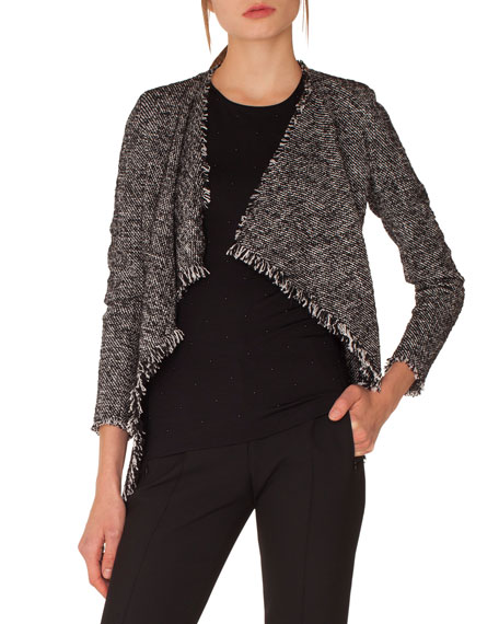 Open-Front Long-Sleeve Tweed Jacket w/ Fringe Details