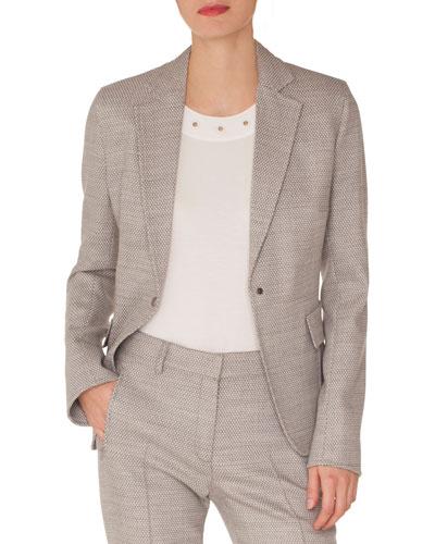 Press-Button Flap-Pockets Stretch-Wool Blazer