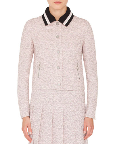 Button-Front Tweed Jacket w/ Detachable Knit Collar
