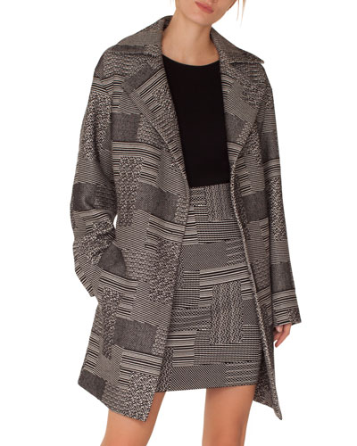 Notched-Lapel Press-Button Patchwork-Jacquard Coat and Matching Items