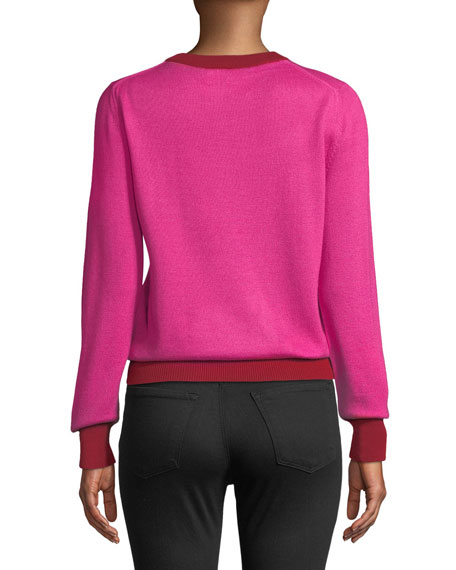 Iris Apfel Glasses Crewneck Long-Sleeve Cashmere-Silk Sweater