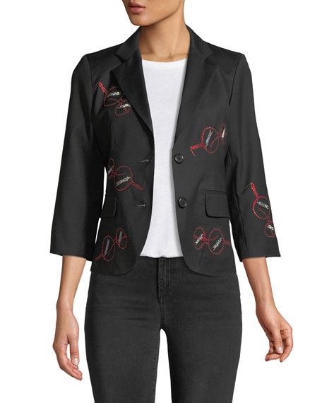 Iris Apfel Glasses 3/4-Sleeve Wool Blazer
