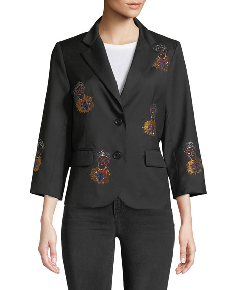 Iris Apfel Portrait Single-Breasted Wool Blazer