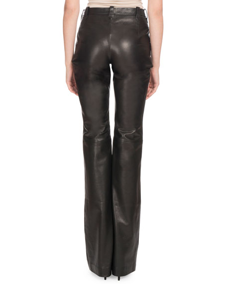 High-Rise Boot-Cut Calf Leather Pants