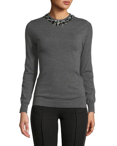 Crewneck Long-Sleeve Heathered Wool Sweater