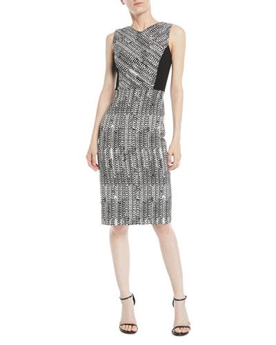 Sleeveless Herringbone-Jacquard Sheath Cocktail Dress