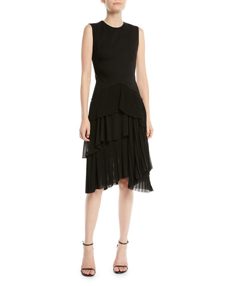 Sleeveless Wool-Suiting Fit-And-Flare Cocktail Dress, Black