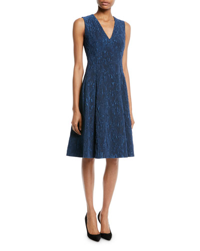 V-Neck Sleeveless Fit-and-Flare Cloqué Jacquard Cocktail Dress
